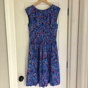 Boden blue & pink flower print dress, size 8 Long